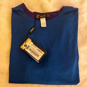 VERSACE blue crew neck shirt